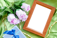 Blank wooden photo frame Royalty Free Stock Photos