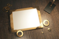 Blank wooden picture frame with vintage lamp on brown wooden tab Stock Photos