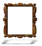 Blank wooden portrait frame isolated on white Royalty Free Stock Photo