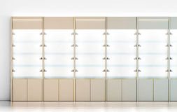 Blank wooden showcase design mockup,. 3d rendering. Clear white wood show case with empty glass shelves mock up. Store wall with modern cabinet. Shop front view Stock Photos