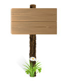 Blank wooden sign board. With grass. Vector-Illustration Stock Photo