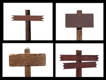 Blank Wooden Sign Collage stock photo