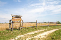 Blank wooden sign. Pointing right at a countryside road Royalty Free Stock Photography