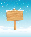 Blank Wooden Sign in Winter Stock Photography