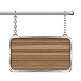 Blank wooden signboard with metallic border hanging on chain. Royalty Free Stock Photo