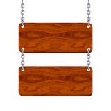 Blank wooden signboard set hanging on chain. Vector illustration Royalty Free Stock Images