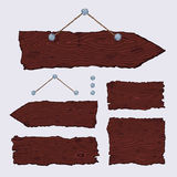 Blank wooden signs (hanging and dark). Set of blank wooden signs and signposts with nails and string. The  is made with no transparencies and gradients Stock Image
