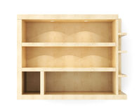 Blank wooden wall shelf with lighting isolated on white  Stock Photography