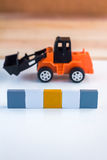 Blank word block with truck toy Stock Images