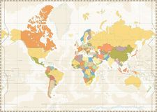 Blank World Map retro color with lakes and rivers. Vector illustration Royalty Free Stock Photos