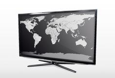 Blank world map on TV Stock Photos
