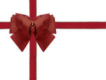 Blank wrapped gift box present with red ribbon and blank space red ribbon. Wrapped christmas or valentines gift box present with red ribbon and gold balls and Stock Photography