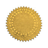 Blank Wreath Seal. Gold Wreath Seal With Copy Space Isolated on White Background stock photo