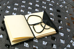 Blank writers journal outside on table Stock Image