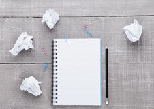 Blank writing pad with pencil for ideas on wood Royalty Free Stock Photo
