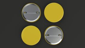 Blank yellow badge on black background. Pin button mockup. 3D rendering illustration Royalty Free Stock Photos