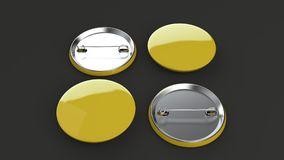 Blank yellow badge on black background. Pin button mockup. 3D rendering illustration Stock Photography