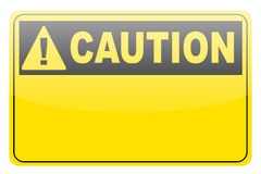 Blank yellow caution label sign Stock Photos