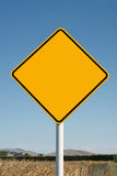Blank yellow diamond road sign Royalty Free Stock Photography