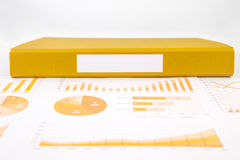 Blank yellow folder with business graph and summary reports Stock Photo