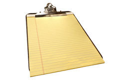 Blank Yellow Legal Pad on Old Metal Clipboard Stock Photo