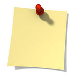Blank yellow love note paper is pinned by pin with heart. Stock Photo