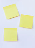 Blank yellow note on isolated white stock photo