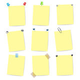 Blank yellow note items Royalty Free Stock Photos