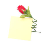 Blank yellow  paper note and red artificial rose Royalty Free Stock Images