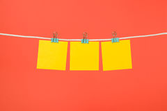 Blank yellow paper notes hanging on clothesline Stock Image