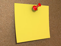 Blank Yellow Pinned Note Royalty Free Stock Images