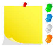 Blank yellow post-it note. With pushpins Royalty Free Stock Photography
