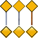 Blank yellow rhombus road signs. Isolated on white background Royalty Free Stock Photo