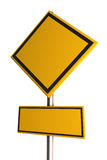 Blank yellow road sign. On white background Stock Images