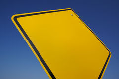 Blank Yellow Road Sign Stock Images