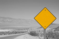 Blank yellow road sign  Stock Photos