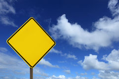 Blank yellow road sign board Royalty Free Stock Photos