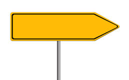 Blank yellow road sign illustration with copy space on white background Royalty Free Stock Photo