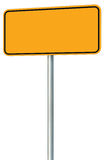 Blank Yellow Road Sign Isolated, Large Perspective Warning Copy Space, Black Frame Roadside Signpost Signboard Pole Post Empty. Traffic Signage Royalty Free Stock Photo