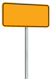 Blank Yellow Road Sign Isolated, Large Perspective Warning Copy Space, Black Frame Roadside Signpost Signboard Pole Post Empty Stock Photo