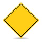 Blank yellow road sign on white background Royalty Free Stock Photos