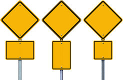 Blank yellow road signs. Stock Images