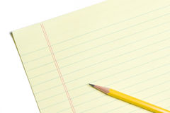 Blank Yellow Sheet of Paper With Pencil Royalty Free Stock Images