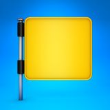 Blank Yellow Square Display on Blue Background. Stock Photography