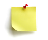 Blank yellow sticky note. Blank yellow sticky post it note with red push pin isolated on white background Royalty Free Stock Photo