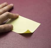 Blank yellow sticky note Royalty Free Stock Image