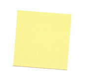 Blank yellow sticky note on white background Stock Images