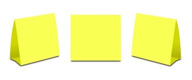 Blank Yellow Table Tent on white. Paper vertical cards isolated Royalty Free Stock Photos