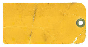 Blank Yellow Tag On White Background Stock Photography