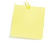 Blank Yellow To-Do List, Post-It Style Sticker Copy Space, Paperclip, Large Detailed Isolated Closeup Stock Photos